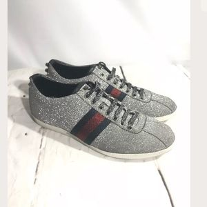 Gucci Web Stud Lace Sneaker Silver Glitter Shoes
